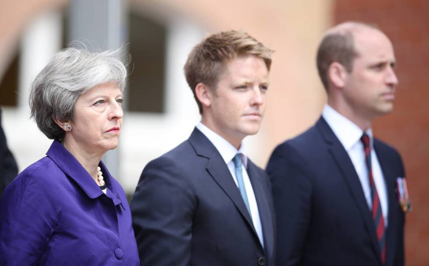 Theresa May, duc de Westminster et Guillaume d'Angleterre, en 2018.